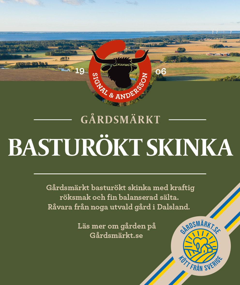 Gårdsmärkt etikett Basturökt skinka