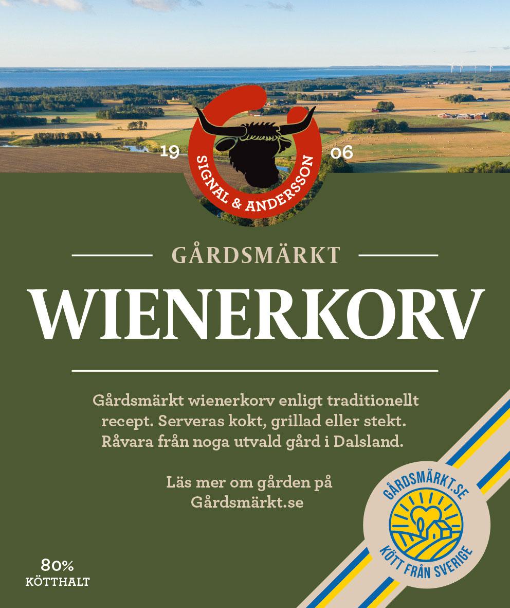 Gårdsmärkt etikett Wienerkorv